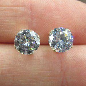 Sterling Clear CZ Medium Round Stud Earrings